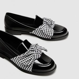 NWT Zara Loafers with Fabric Bow Detail